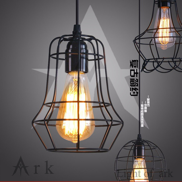 Retro Indoor Lighting Vintage Pendant Light Led Lights 24 Kinds Iron Cage Lampshade Warehouse Style