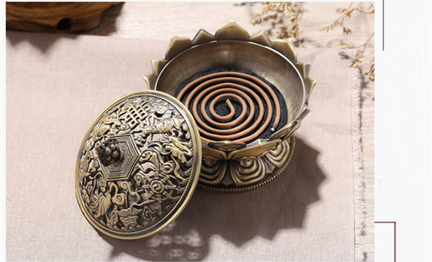 ERMAKOVA Lotus Flower Chinese Buddha Alloy Metal Incense Burner Incense Holder Handmade Censer Bowl Buddhist Home Decoration