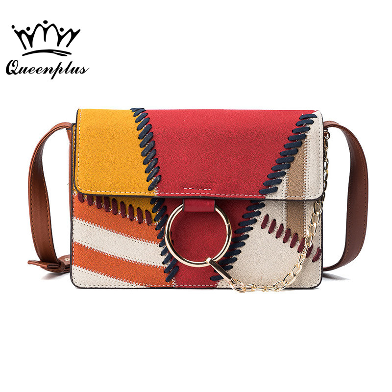 New Style famous brand Retro Minimalist Crossbody Bag Small Women Shoulder Bag Women Messenger Bag hit color Chain Puzzle Ring new style retro minimalist crossbody bag fashion small women shoulder bag floral envelope bag tassel women messenger bag