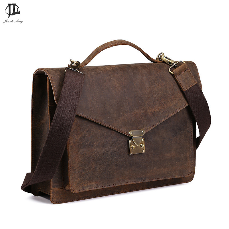 2016 Retro men s crazy horse genuine leather High Quality 14 Laptop Briefcase Business Zipper coffee