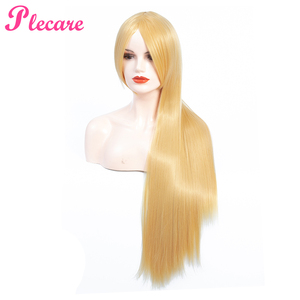 Image 3 - Plecare Long Blonde Wig Ombre Synthetic Wig  Heat Resistant  Pruiken Wig For Black/White Women Cosplay Wig
