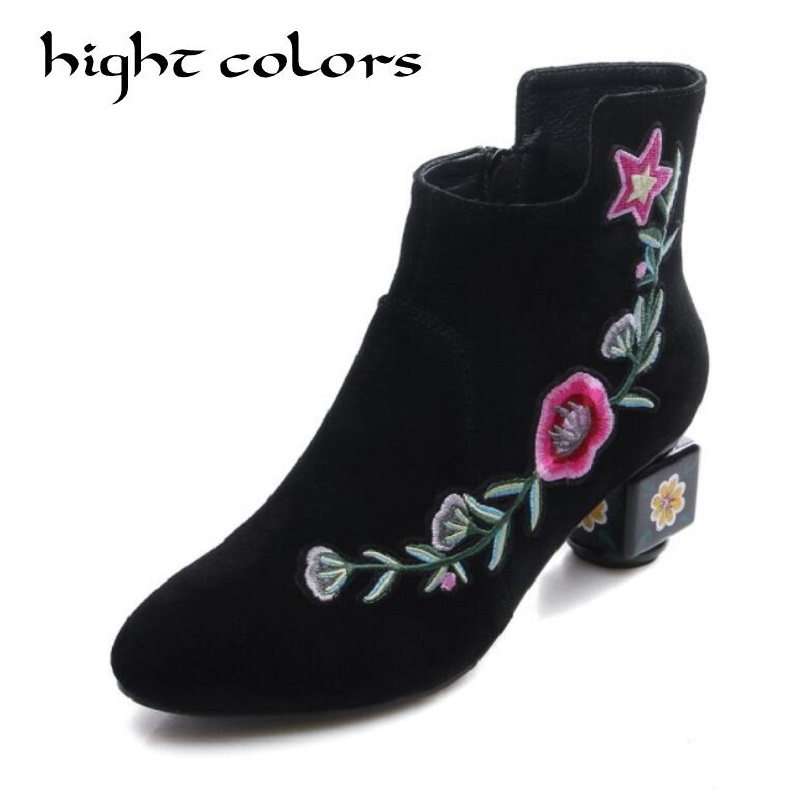 Ethnic style fashion matte leather leather boots for women with round head embroidery flowers handmade ankle boot black green korean style different flowers and plant of 50 chinese embroidery handmade art design book