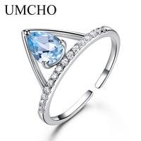 UMCHO Natural Sky Blue Topaz Solid 925 Sterling Silver Ring Colorful Gemstones Drop Aquamarine Engagement Wedding