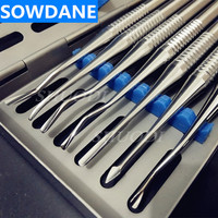 7 Pcs Set Dental Implant Stainless Steel Luxating Root Elevator with Case Instruments Tool Tooth E
