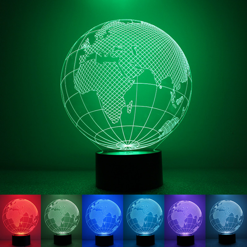 Earth Globe 3D Illusion Desk Lamp 7 Colors Change LED Light Touch Button USB Nightlight Lighting for Home Decor New Year Gift image