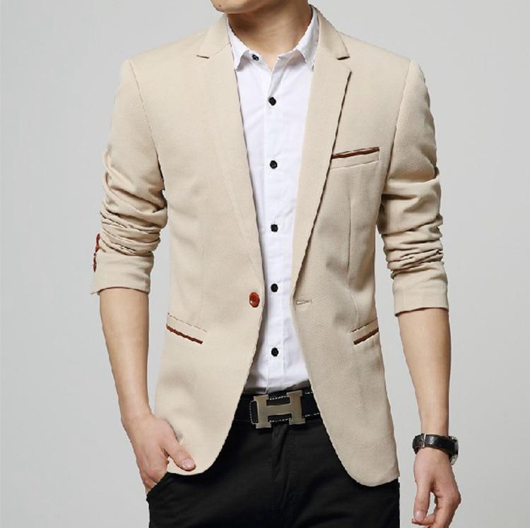 2020 Autumn New Men's Blazer Coat Business Casual Fashion Blue Slim Fit Suit Male Brand Clothing 4