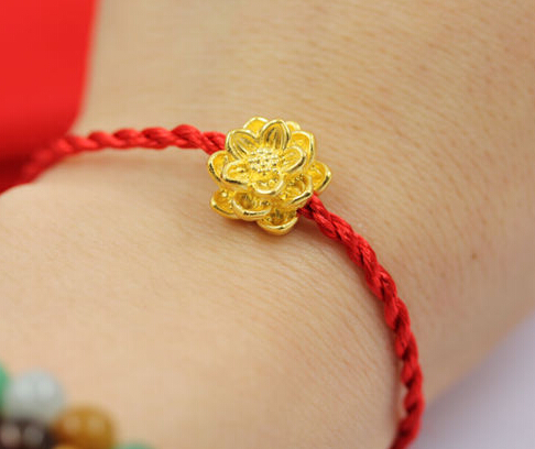 Hot Sale Pure 24k Yellow Gold Pendant /Hand-Craved Lucky Lotus Flower Pendant / 1.45g new pure au750 rose gold love ring lucky cute letter ring 1 13 1 23g hot sale