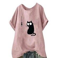2019 Cat Printed T Shirt Women Casual Short Sleeve Tshirt Female O-neck Loose Woman T-shirt Tops cute Funny Tee plus size