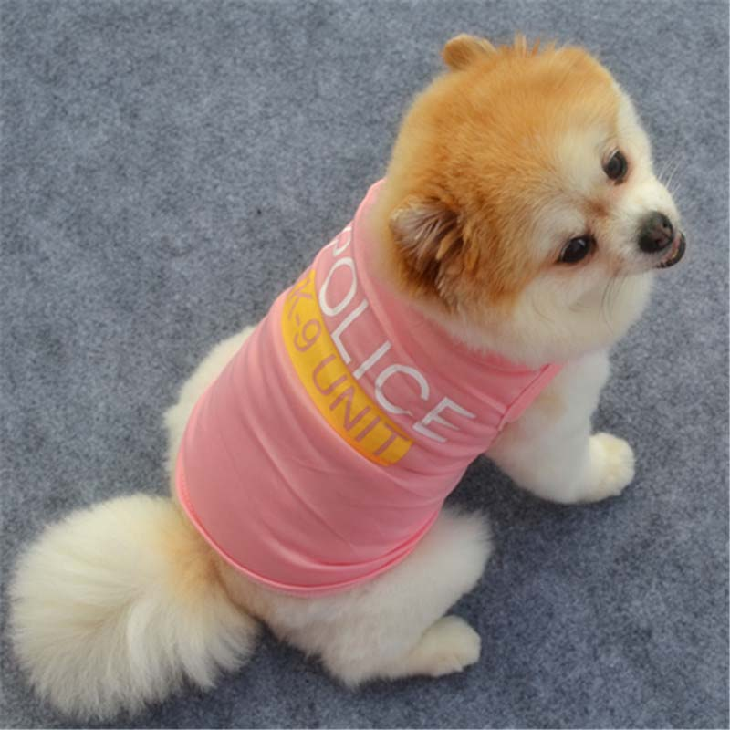 Cute Little Puppy Police Vest T-Shirt Summer Pet Costume Polyester Small Dog Cat Clothes Super Breathable Puppy Poodle Apparel3
