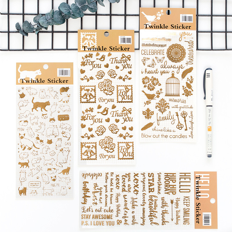 1 PC Cat Flashing Bronzing Series Stickers Creative DIY Handbook Daily Living Learning Stationery