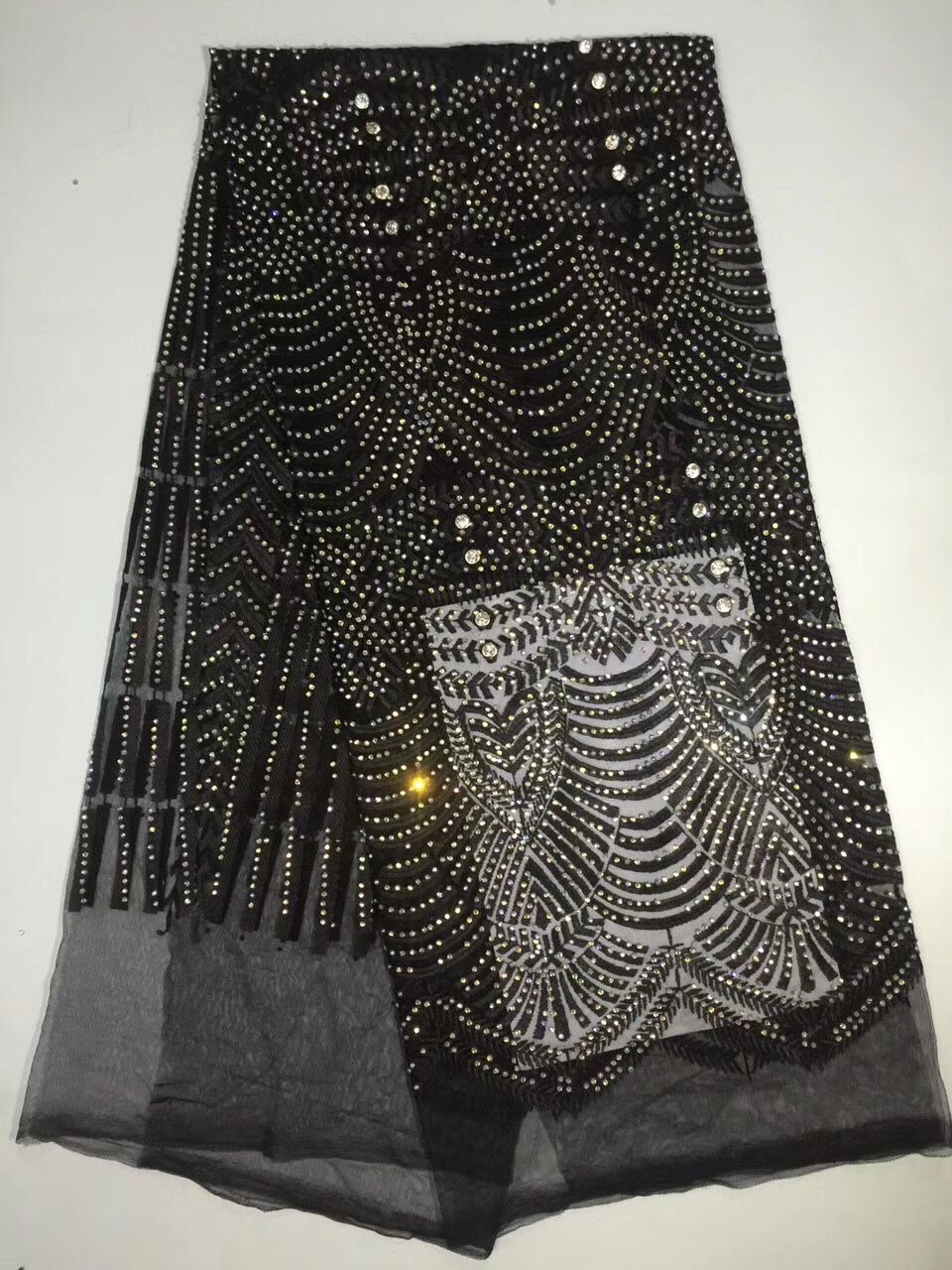 glitter lace fabric black african french lace with rhinestone high quality  cheap fabrics for evening gown dress 5 yard lotDPF -in Lace from Home   Garden  on ... 8b587ca0c32c