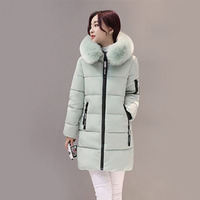 Winter Women Parkas Cotton Long Slim Fit Light Green Fur Collar Hooded Coats Warm Thick Outerwears Cotton Padded Jackets New