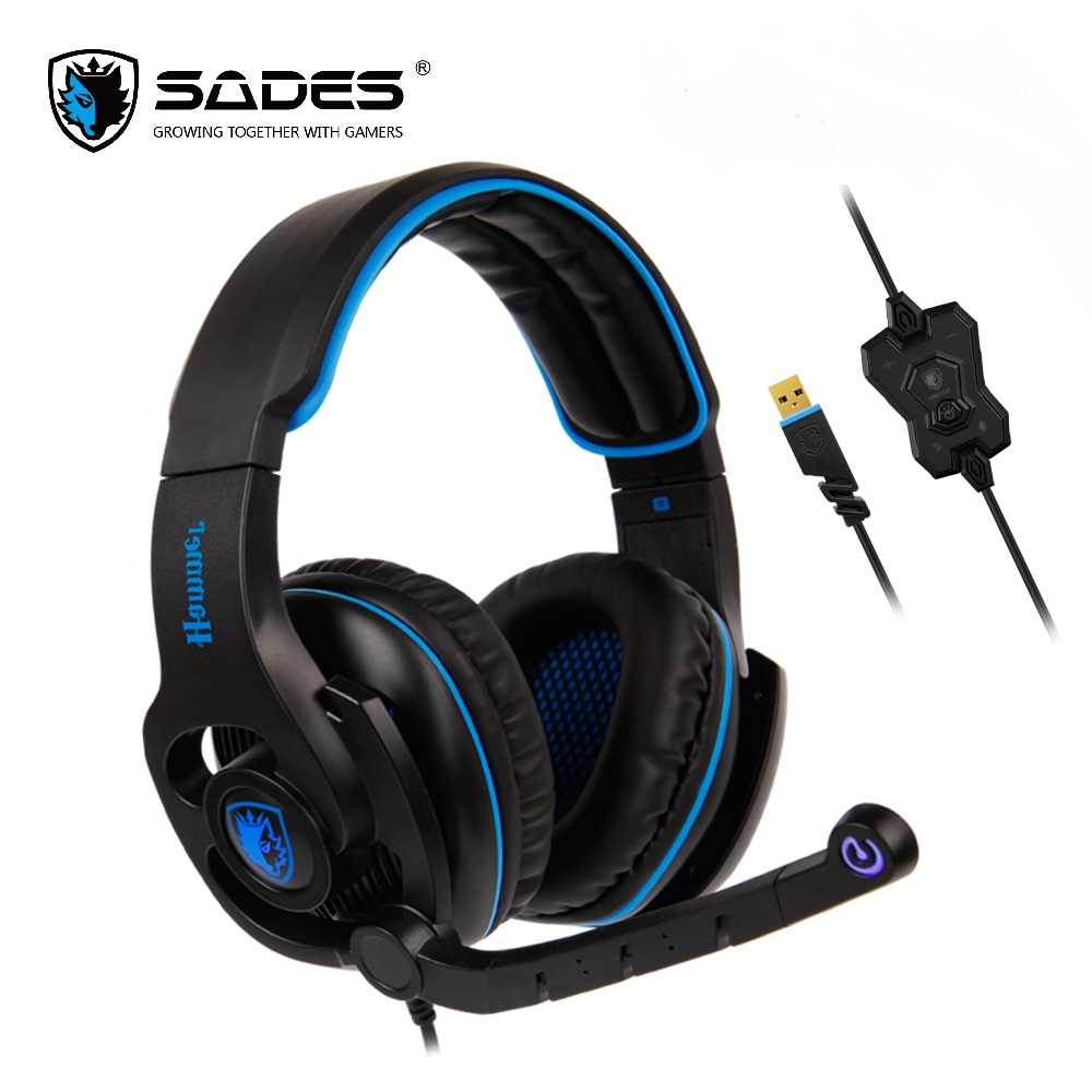 SADES SA923 casque de jeu USB casque Gamer basse virtuelle 7.1 son Surround