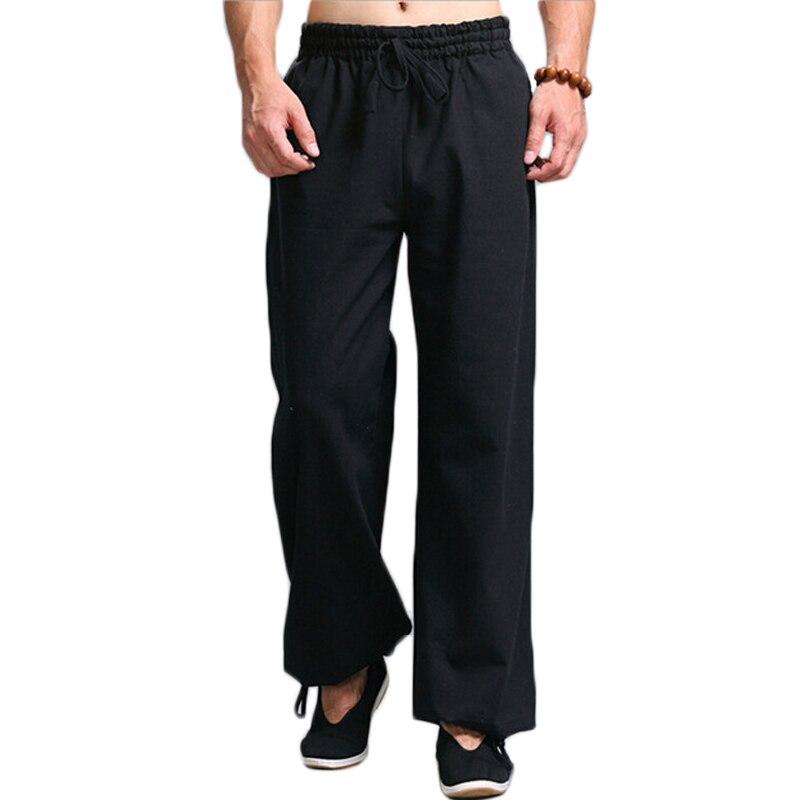 Для мужчин Кунг фу Тай Чи форма Панталоны Для Мужчин's Повседневное брюки эластичная кулиска на талии прямые брюки для девочек