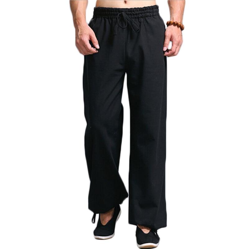 Hombres Kung Fu Tai Chi uniforme Pantalon Homme Pantalones casuales de los hombres Cintura elástica Cordón Pantalones pantalones de pierna recta