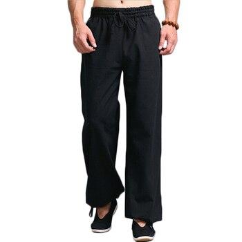 Men Kung Fu Tai Chi Uniform Pantalon Homme Men\'s Casual Pants Elastic Waist Drawstring Straight Leg Trousers Pants