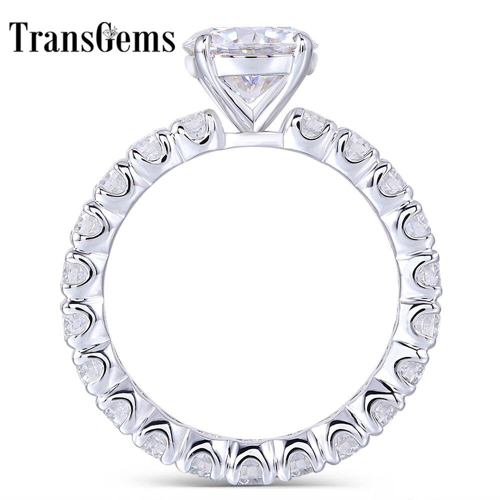 Transgems 14K 585 White Gold Center 1.5ct 7.5mm F Color Moissanite Engagement Ring with Full 2.5mm Moissanite Band Women Gifts
