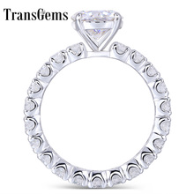 Transgems 14K 585 White Gold Center 1.5ct 7.5mm F Color Moissanite Engagement Ring with Full 2.5mm Band Women Gifts