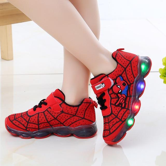 led mesh spiderman kids shoes children boys girls led luminous sport sneakers  baby children kids casual mesh sneakers shoes 1