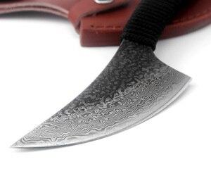 Image 2 - KKWOLF Sharp Handmade Dellacciaio di Damasco lama di caccia di Campeggio Tattica fissa lama diritta esterna di sopravvivenza coltelli da soccorso EDC strumento