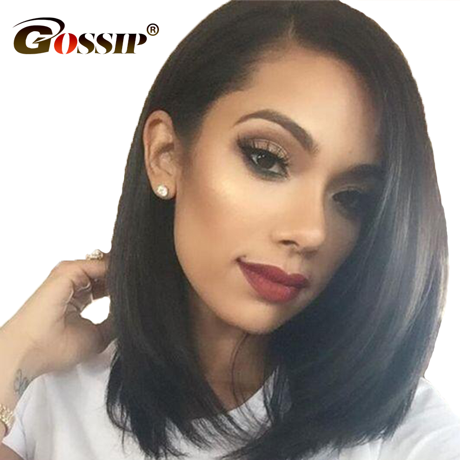 12*6 Lace Peruvian Straight Hair Short Wigs For Black Women Gossip Short Human Hair Wigs Remy Bob Lace Front Wig Pre Plucked
