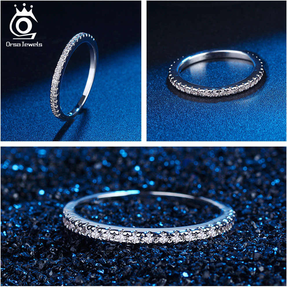ORSA JEWELS кольца из стерлингового серебра 925 для женщин Классический круглый полный Pave AAA кубический циркон обручальное кольцо для девочек SR63