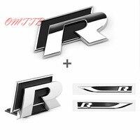 1set 3D Metal Side Wing Badge Emblem Fender R Rline Car Sticker For Volkswagen VW Polo