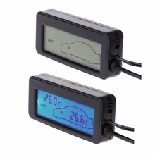 OOTDTY  Mini Blue LCD Digital Car Display Indoor Outdoor Thermometer 12V Vehicles 1.5m Cable Sensor