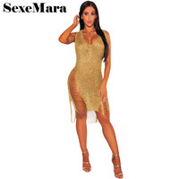 Fashion crochet gold sexy women dress hollow out sleeveless v neck midi ladies summer dresses clubwear beach tunic D48-AA23
