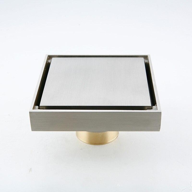 ФОТО New Bathroom Brass Floor Drain Shower Drain nickel brushed 100x100mm