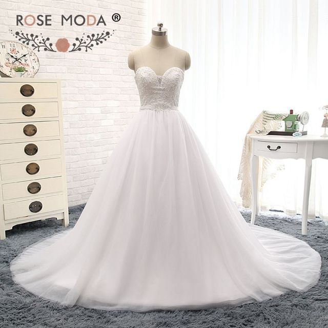 Elegant Illusion Deep Sweetheart Lace Top Wedding Dress With Removable Sash Pearl Beaded Corset Ball Gown