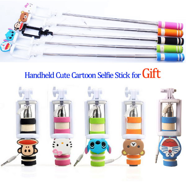 2016 Mini Size Monopod Cute Cartoon Foldable Wired Selfie Stick for iPhone LG Samsung Xiaomi Huawei