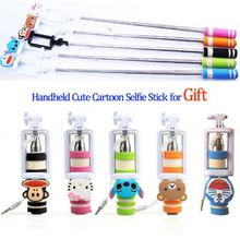 2016 Mini Size Monopod Cute Cartoon Foldable Wired Selfie Stick for iPhone LG Samsung Xiaomi Huawei Android Tripod for Phones
