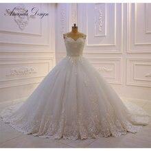 Amanda design robe de mariage boné manga renda applique handwork vestido de casamento