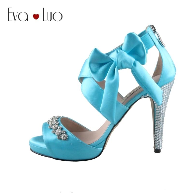 Chs674 Aqua Blue Bowtie Rhinestone Bridal Wedding Shoes Dress