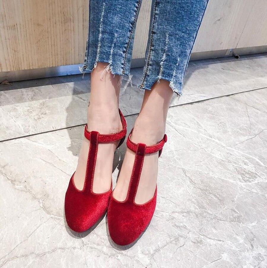 Prova Perfetto T boucle sangle style étrange talon femmes pompes bout rond cristal bijou talons hauts dames robe de soirée chaussures de mariage - 2