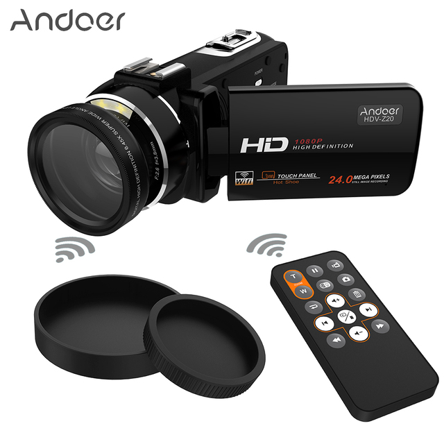 Andoer HDV-Z20 Portable 1080P Full HD Digital Video Camera WiFi 24 MP 16x Professional Camcorder 3.0″ Rotatable LCD Touchscreen
