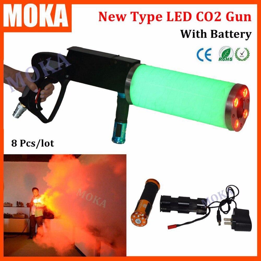 1 Pcs/lot RGB led co2 jet gun dj led fog gun shooter co2 gun battery stage effect special fx spray 6M free 3m hose