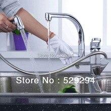 Двойные патрубки никель матовый pull out и вниз кухня faucet.360 степень водопроводный кран. матовый кухня раковина смеситель XK-014