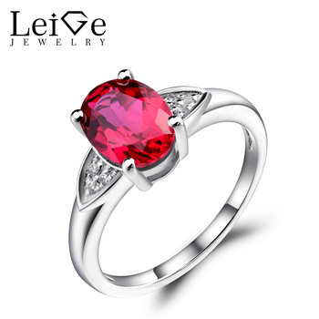 Leige Jewelry Ruby Engagement Rings Oval Cut Gemstone Jewelry Sterling Silver 925 Wedding Rings for Women July Birthstone