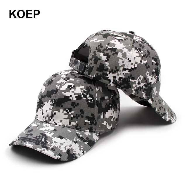 2b41d1e07 US $5.55 |KOEP Outdoor Sport Snapback Caps Digital Camouflage Hat  Simplicity Tactical Army Camo Hunting Cap Hat For Men Adult Training Cap-in  Baseball ...