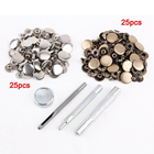 LHBL 25pcs silver + 25 pcs bronze 15mm Snap Button Metal + tool set for leather goods leather