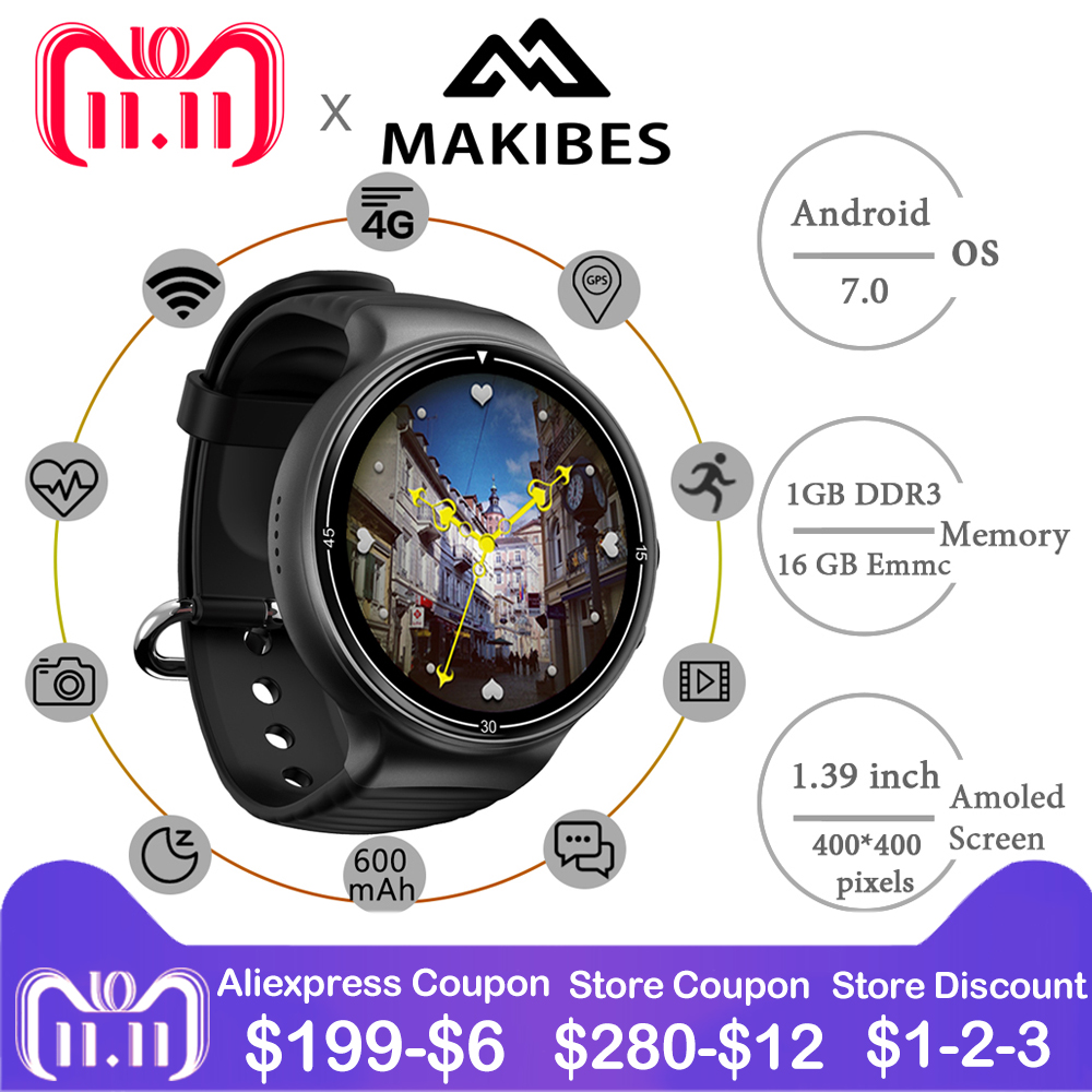 Makibes MK02 Smart Watch Men 4G Camera Smartwatch Phones 1MB+16GB GPS Heart Rate Fitness Pedometer WiFi Sport Watch Android 7.0 цена