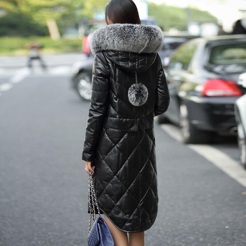 Nouvelles G04 5xl D'hiver Longue Mince Black Blanc Qualité Mouton De Haute Peau Fourrure Manteau Pour 2018 Femmes Tenues Canard Veste Duvet M Cuir En Réel g85nwxPB