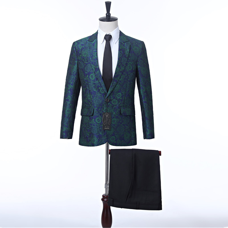 Men Wedding Suit Green Floral Groom Tuxedo Costumes For Singer Custom Made Male Suit With Pants Best Man Blazer (Jacket+Pants)A3