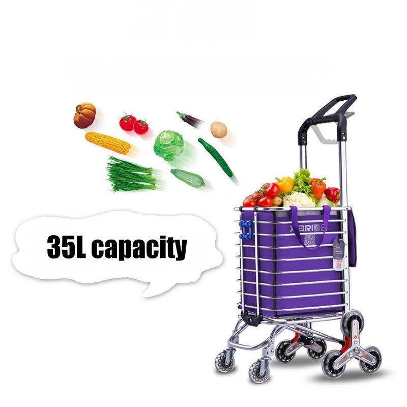 35L Escaliers Shopping Panier, ménage Robuste Chariot Remorque, Portable panier avec châssis en alliage d'aluminium, pliable chariot