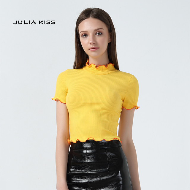 fc7a26874c0 Women Turtleneck Short Sleeve T-shirt with Contrast ruffled trimming edge Short  Sleeve Crop Tops