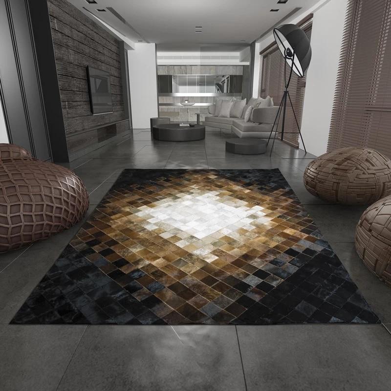 Americký styl luxusního hovězího koberce se švy, moderní natruální milch cowskin checker koberec pro dekorace do obývacího pokoje