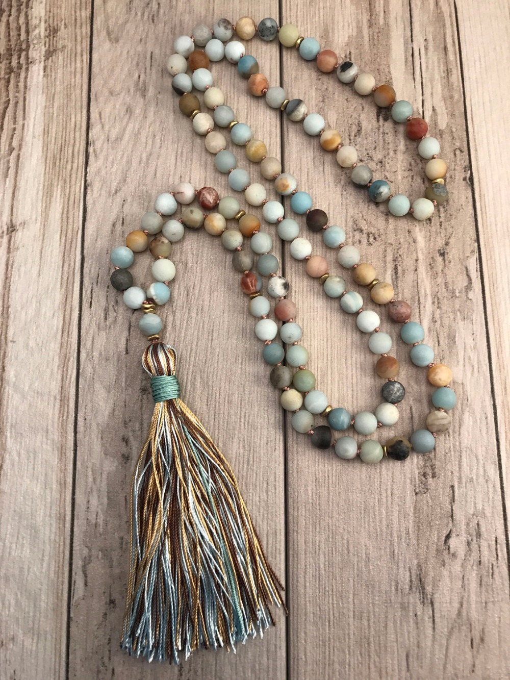 Bead Necklace Mala Jewelry Tassel Amazonite Hand-Knotted Meditation Silk Matte Yoga 108