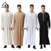 TOPMELON Islamic Clothing Men Saudi Arabic Long Robes for Man Solid Black Camel White Beige Long Sleeve Jubba Thobe